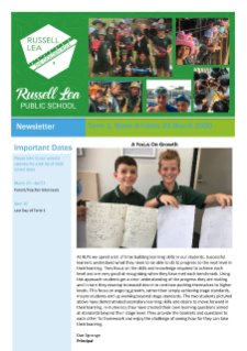 Term 1 Week 8 Russell Lea Public School Newsletter